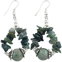 Handmade Green Moss Agate Silver Bead Earrings (Thailand)