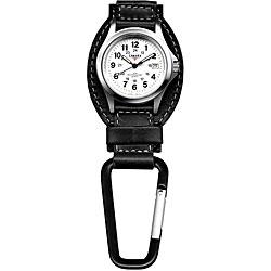Dakota Men's Black Leather Hanger Carabiner Watch