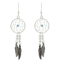 Tressa Sterling Silver Created Turquoise 'Dream Catcher' Earrings