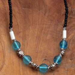 Blue Glass Beaded Necklace(Kenya)