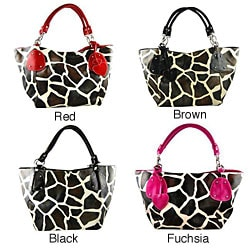 Faux Leather Giraffe Print Handbag
