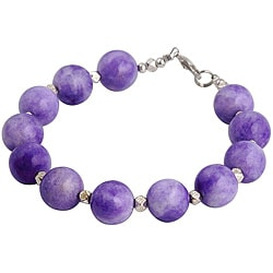 Handmade Silver Bead Purple Agate Bracelet (Thailand)