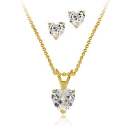 Icz Stonez 18k Gold over Sterling Silver CZ Heart Pendant and Earring Set