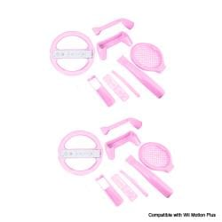 8 in 1 Sports Pack Compatible with Motion Plus Pink for Nintendo Wii- 2 Pack