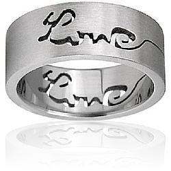 Stainless Steel Satin Finish Laser-cut 'Love' Ring
