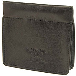 Romano Gusseted Squeeze-top Soft Nappa Leather Black Coin Pouch