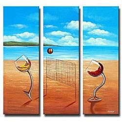 'Over the Net' 3-piece Canvas Art