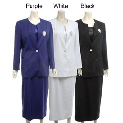 Divine Apparel Women's Plus Size 3-piece Skirt Suit
