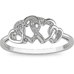 Miadora 10k White Gold Diamond Entwined Heart Ring
