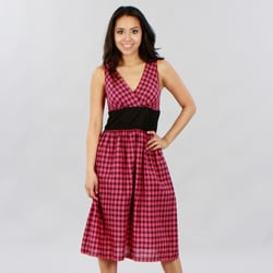 Mint Green Women's Fuschia Gingham Empire Waist Dress