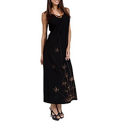Hawaiian-style Batik-print Long Black Dress (Indonesia)