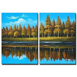 'Country Lake' 2-piece Canvas Art