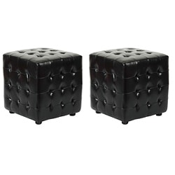 Safavieh Kristof Storage Black Ottomans (Set of 2)