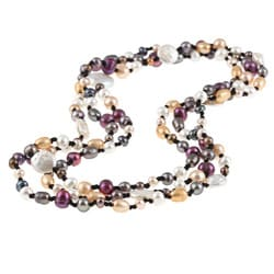 DaVonna Double-knotted Multicolored FW Pearl 60-inch Endless Necklace (6-8.5 mm)