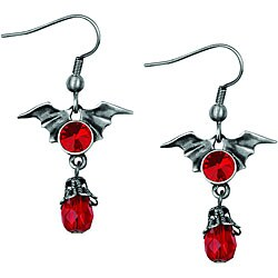 Pewter Red Crystal Batwing Earrings