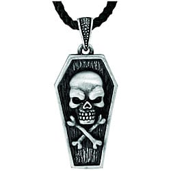 Pewter Gothic Coffin Skull Necklace