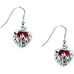 Pewter Sacred Heart Earrings