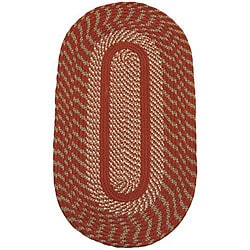 Cambridge Barn Red / Olive Braided Rug (5' x 8' Oval)