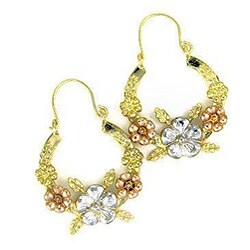 14k Goldplated Latin Flower Hoop Earrings (Mexico)