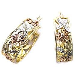 14k Goldplated Spanish Rose X-wide Hoop Earrings (Mexico)