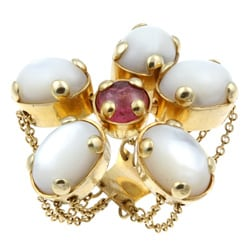 Pre-owned 18k Gold Moonstone/ Tourmaline Flower Estate Ring (Size 7)