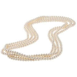 DaVonna White FW Pearl 100-inch Endless Necklace (6-6.5 mm)