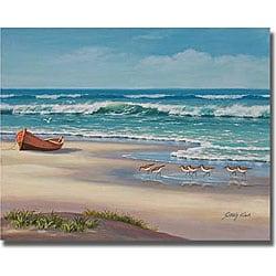 Sung Kim 'Sandpiper March II' Canvas Art