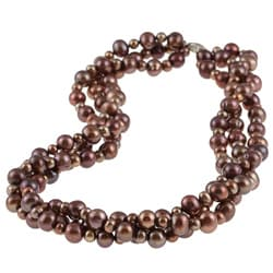 DaVonna Silver Chocolate FW Pearl 3-row Twisted Necklace (4 mm/ 8 mm)