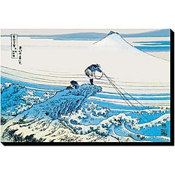 Katsushika Hokusai 'Fishing In The Surf' Canvas Art