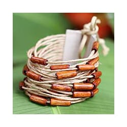 Bamboo and Leather 'Brown Amazon' Wristband Bracelet (Brazil)