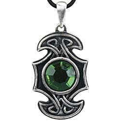Pewter Green Cubic Zirconia Celtic Axe Necklace