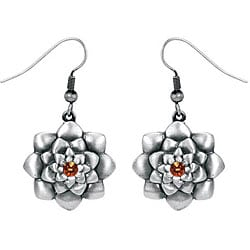 Pewter Austrian Crystal Lotus Flower Earrings