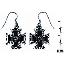 Pewter Iron Cross with Skull Earrings