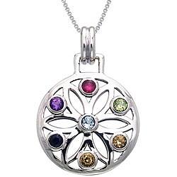 Carolina Glamour Collection Sterling Silver Gemstone Chakra Lotus Necklace