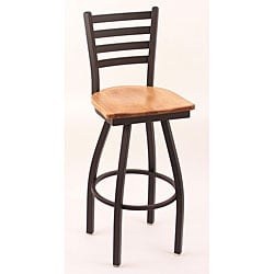 Cambridge Black 25-Inch 360-Degree Counter Swivel Stool with Medium Maple Seat