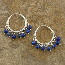Sterling Silver Lapis Lazuli Hoop Earrings (Thailand)