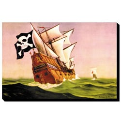 'Pirate Ship With Sails All Set' Giclee Canvas Art