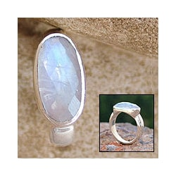 'Rainbow Mist' Moonstone Solitaire Ring (India) rainbow moonstone jewelry