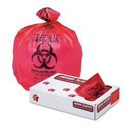 Jaguar Plastics Red 33-inch x 39-inch Health Care Bio-hazard Printed Trash Liners (Case of 150)