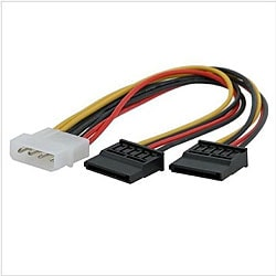 INSTEN Molex 4-pin Connecter to Two Serial ATA Power Splitter Cable