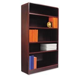Alera Radius Corner 5-Shelf Dark Brown Bookcase With Finished Back