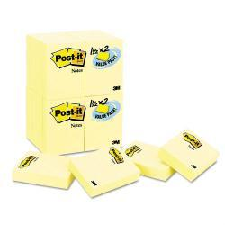 Post-it 1-1/2 x 2 Canary Yellow Notes, 90-Sheet Pads (Pack of 24)