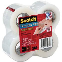 Scotch Tear-By-Hand Packaging Tape, Clear (Pack of 4)