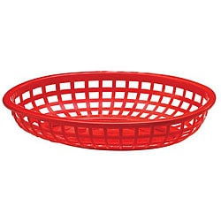 Tablecraft Red Medium Plastic Oval Baskets (Case of 36) 5960393
