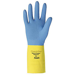 Ansell Protective Products Medium Blue/Yellow Latex/Neoprene Gloves
