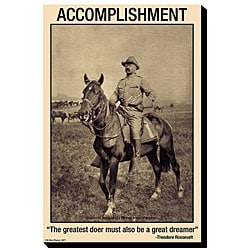 'Accomplishment: The Greatest Doer must also be a great dreamer' Canvas Art