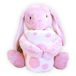 Piccolo Bambino Coral Blanket with Pink Toy Bunny