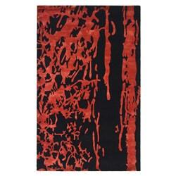 Safavieh Handmade Soho Deco Black/ Red New Zealand Wool Rug (5' x 8')
