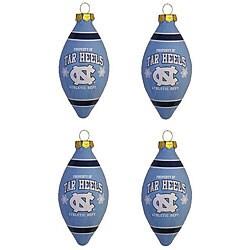 UNC Tar Heels 4-piece Teardrop Ornament Set