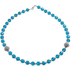 Silver Faceted Blue Glass Necklace (Thailand)